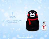 くまモンと雪だるま 画像